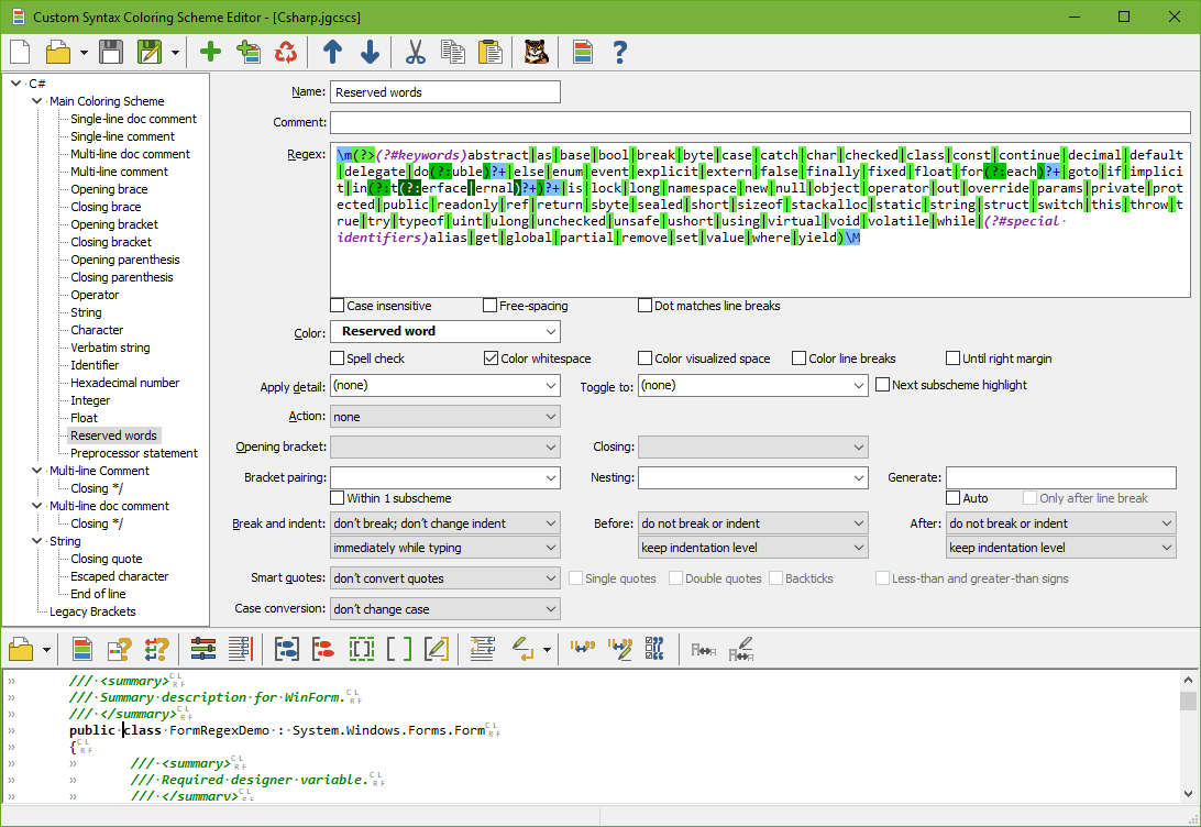 JGsoft Custom Syntax Coloring Schemes Editor