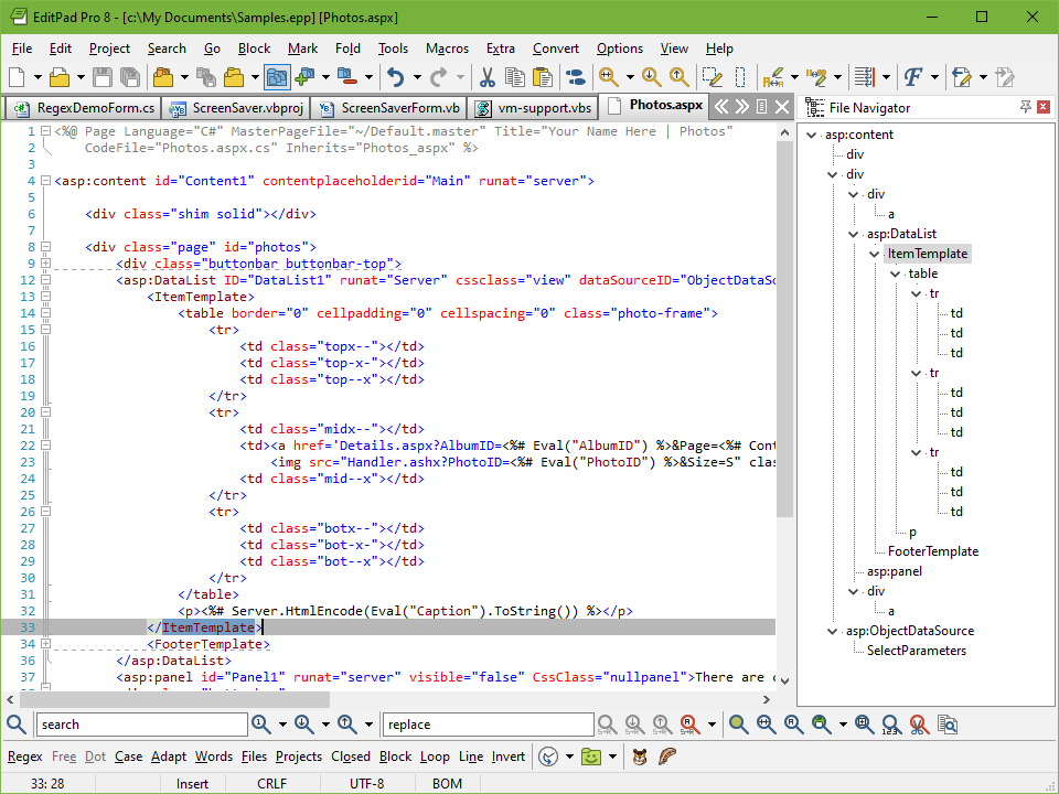 Editing an ASP.NET file with EditPad Pro. Notice the C# syntax highlighting in the ASP.NET tag above the (grey) active line. The <table> and <FooterTemplate> tags are folded. The file navigation panel to docked to the right shows the entire XML structure.
