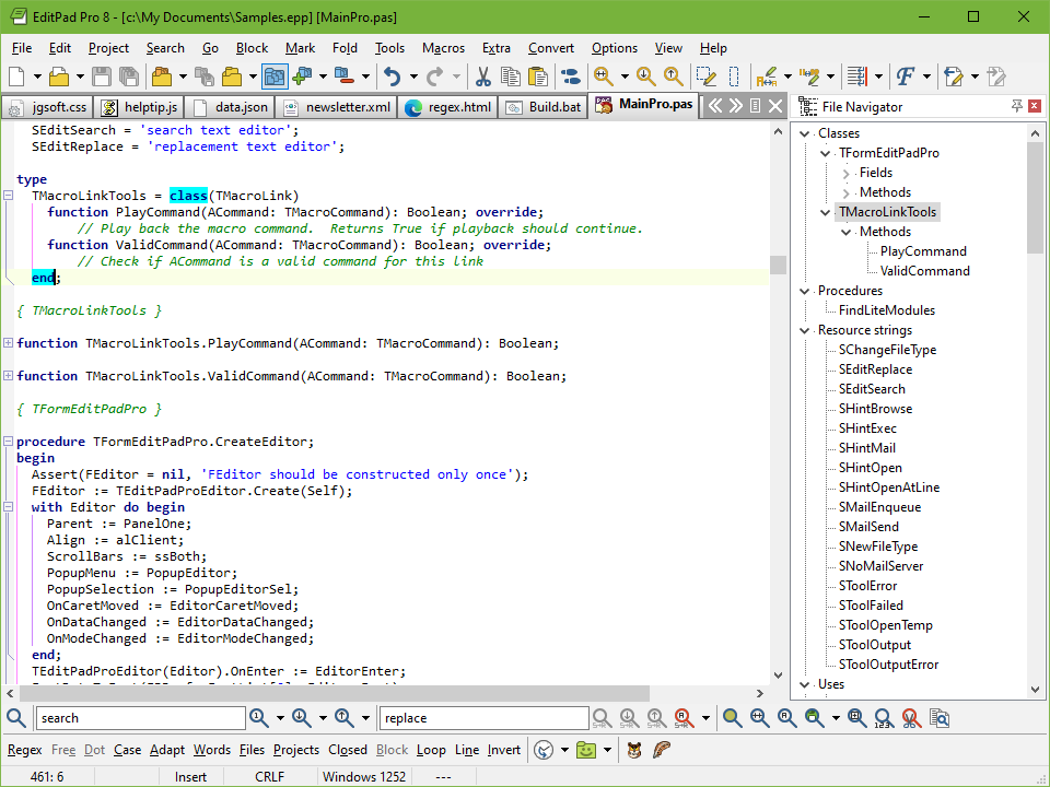 Editing a Delphi source code file with EditPad Pro. The File Navigator is docked to the right.