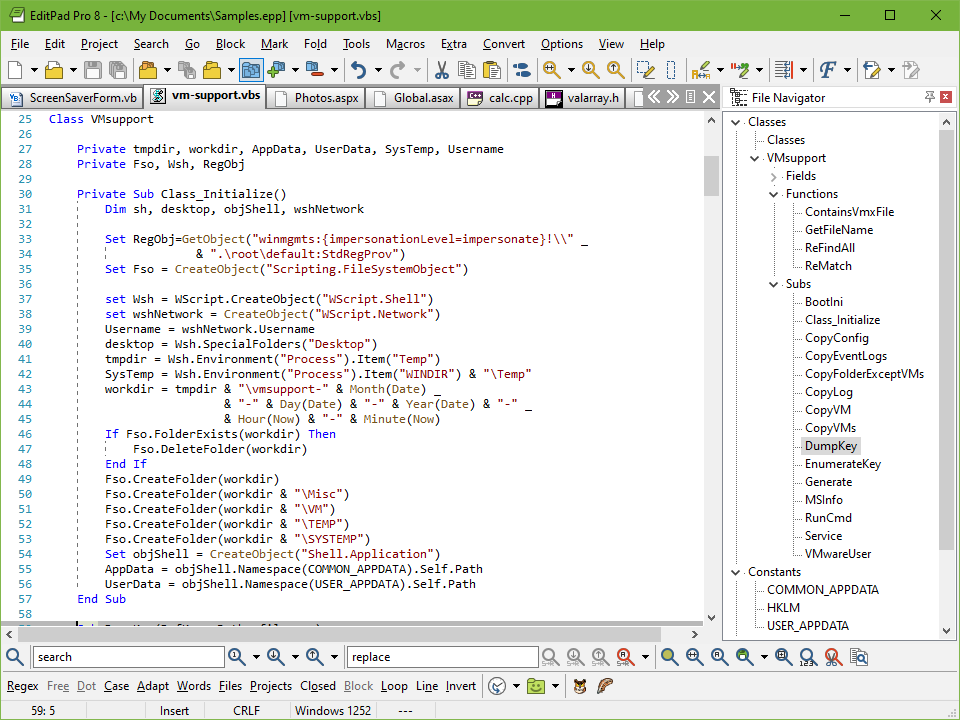 Editing a VBscript source code file with EditPad Pro. The File Navigator is docked to the right.