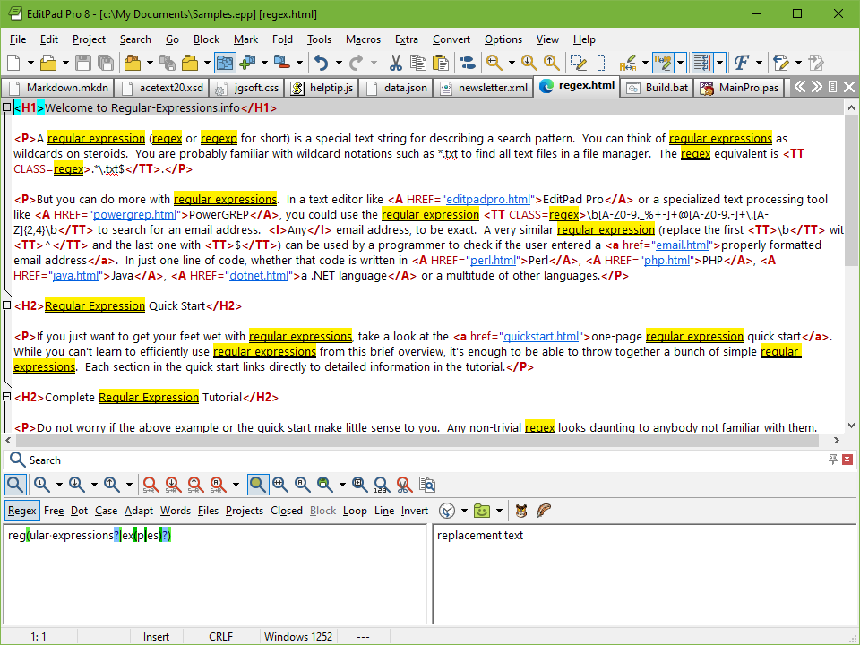 EditPad Pro - Text editor with powerful regular expression search-and-replace.
