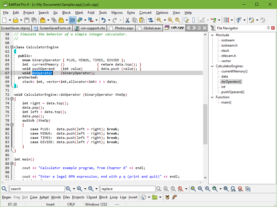 Editing a C/C++ source code file with EditPad Pro. The File Panel showing a list of open files is docked to the left.