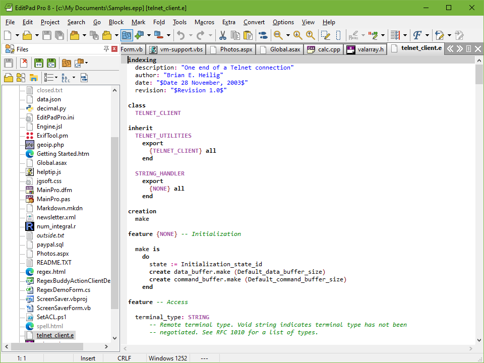 Editing a Eiffel source code file with EditPad Pro. The File Panel showing a list of open files is docked to the left.