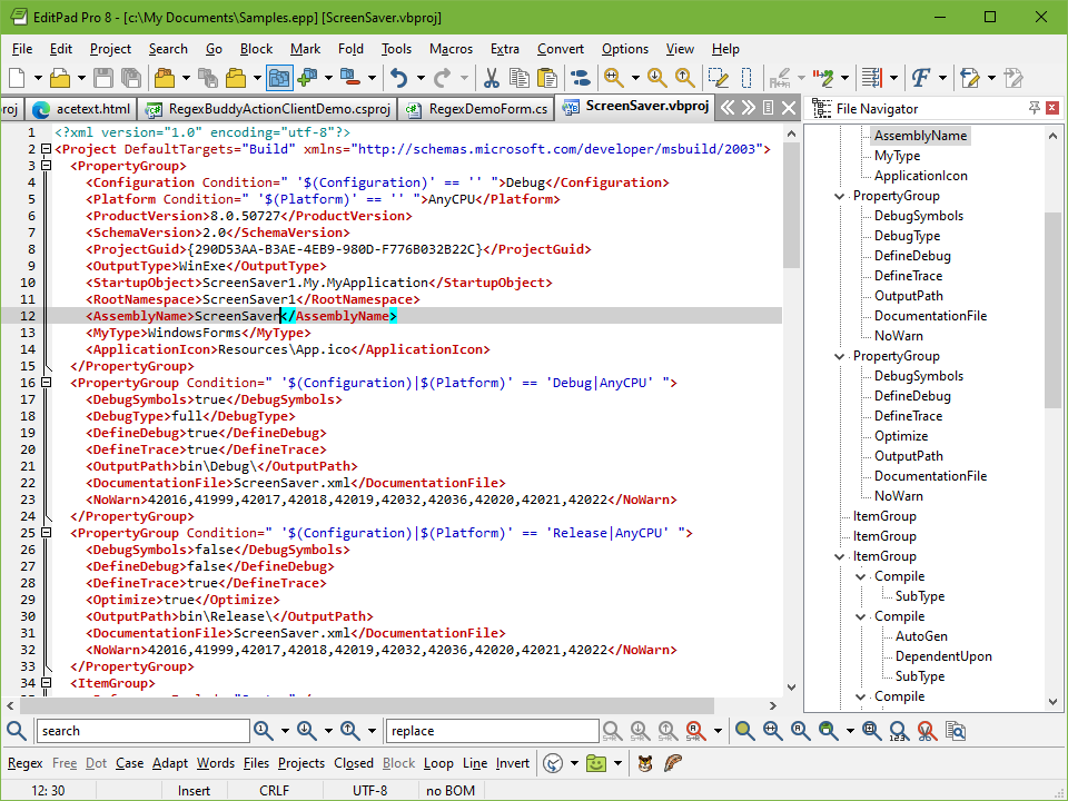 Windows Text Editor for Viewing and Editing XML Files, Schemas, Data