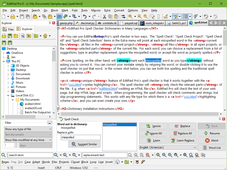 EditPad Pro's spell checker in action, with live spelling turned on as well